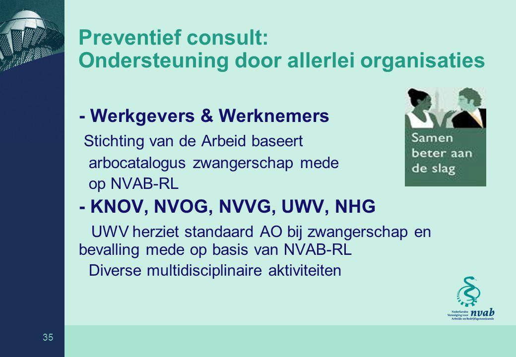 Preventief consult: Ondersteuning door allerlei organisaties