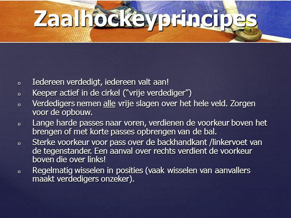 Zaalhockeyprincipes Iedereen verdedigt, iedereen valt aan!