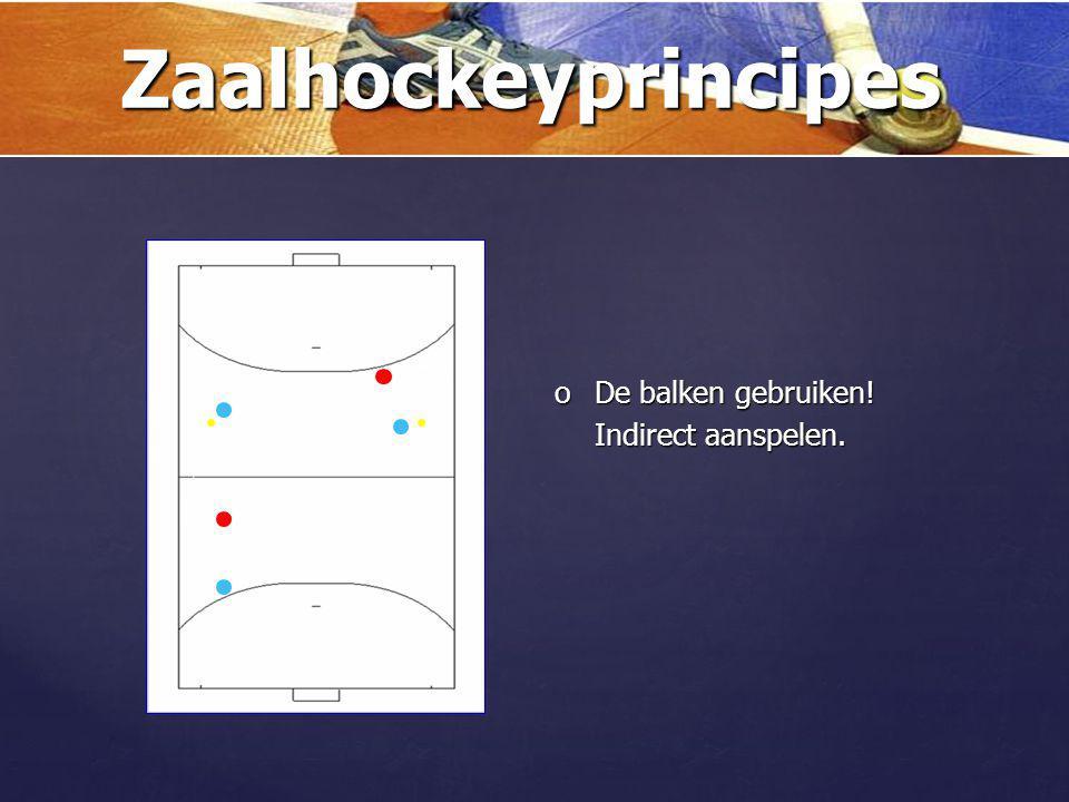 Zaalhockeyprincipes De balken gebruiken! Indirect aanspelen.
