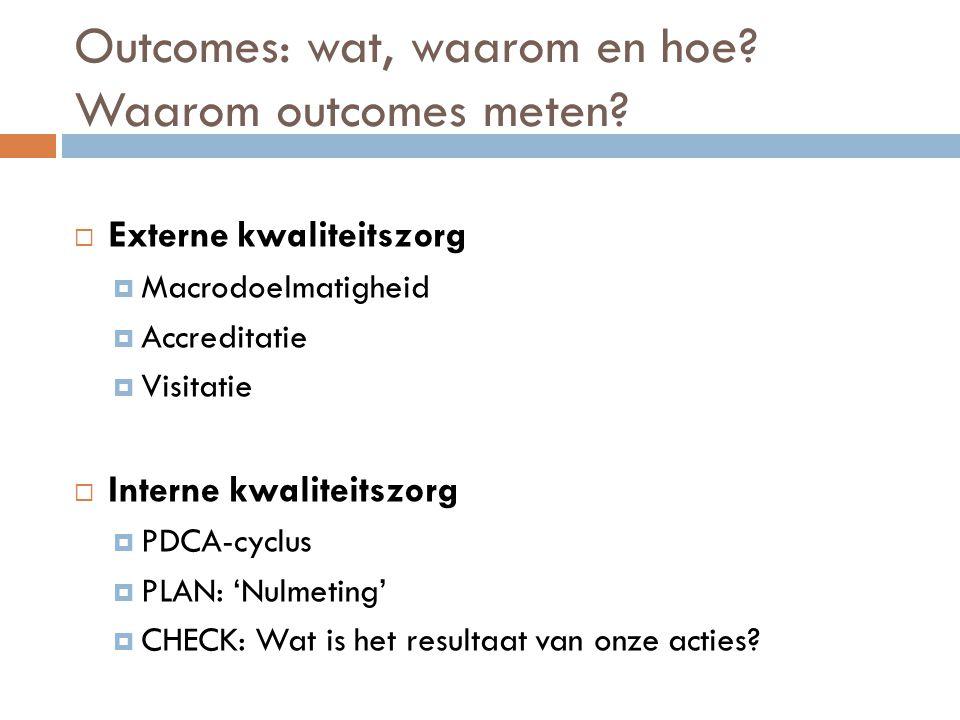 Outcomes: wat, waarom en hoe Waarom outcomes meten