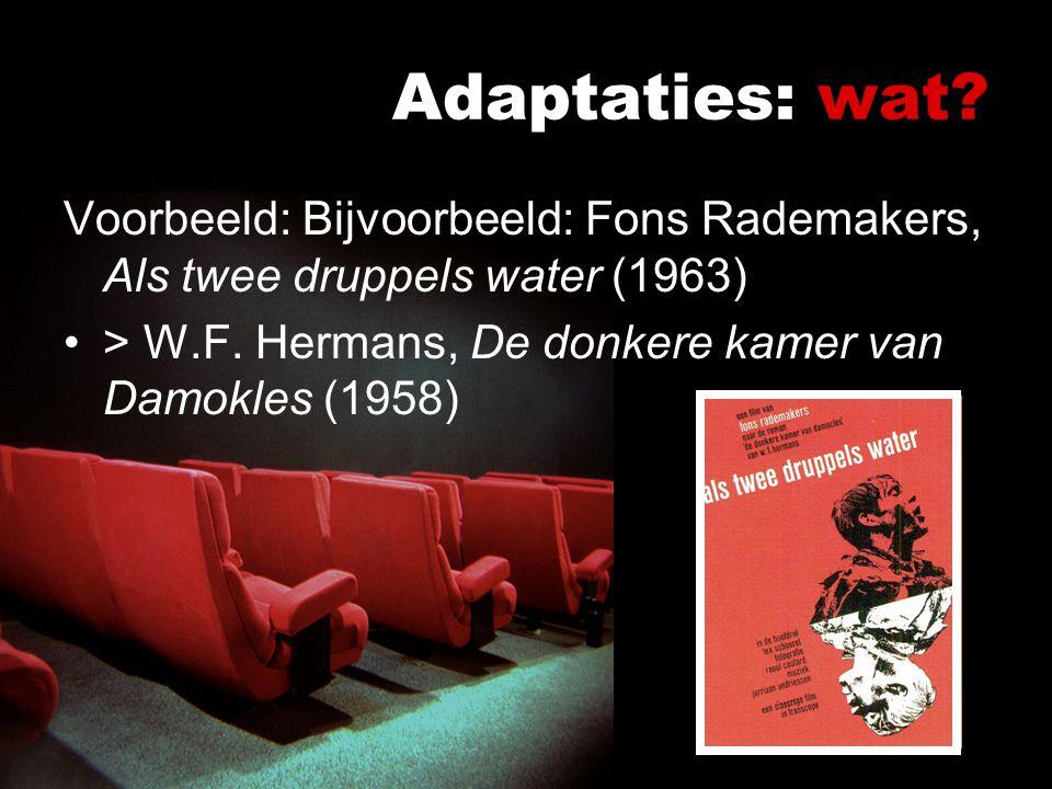 Adaptaties: wat Voorbeeld: Bijvoorbeeld: Fons Rademakers, Als twee druppels water (1963) > W.F. Hermans, De donkere kamer van Damokles (1958)