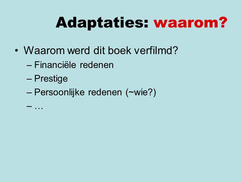 Adaptaties: waarom Waarom werd dit boek verfilmd Financiële redenen