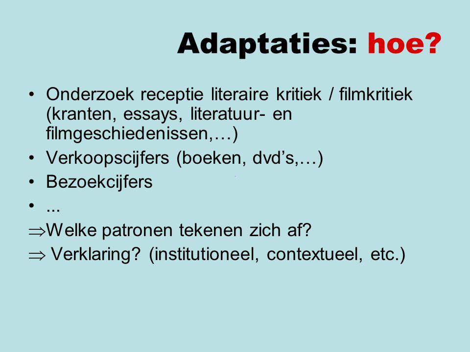 Adaptaties: hoe Onderzoek receptie literaire kritiek / filmkritiek (kranten, essays, literatuur- en filmgeschiedenissen,…)