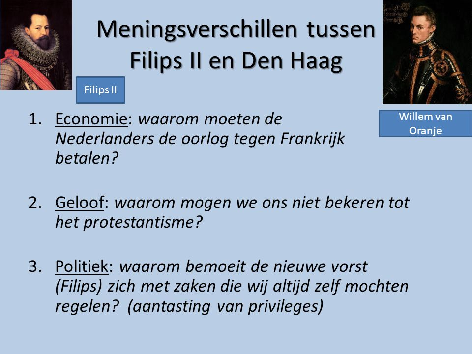 Meningsverschillen tussen Filips II en Den Haag