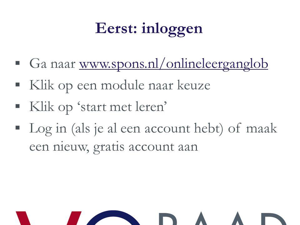 Eerst: inloggen Ga naar www.spons.nl/onlineleerganglob
