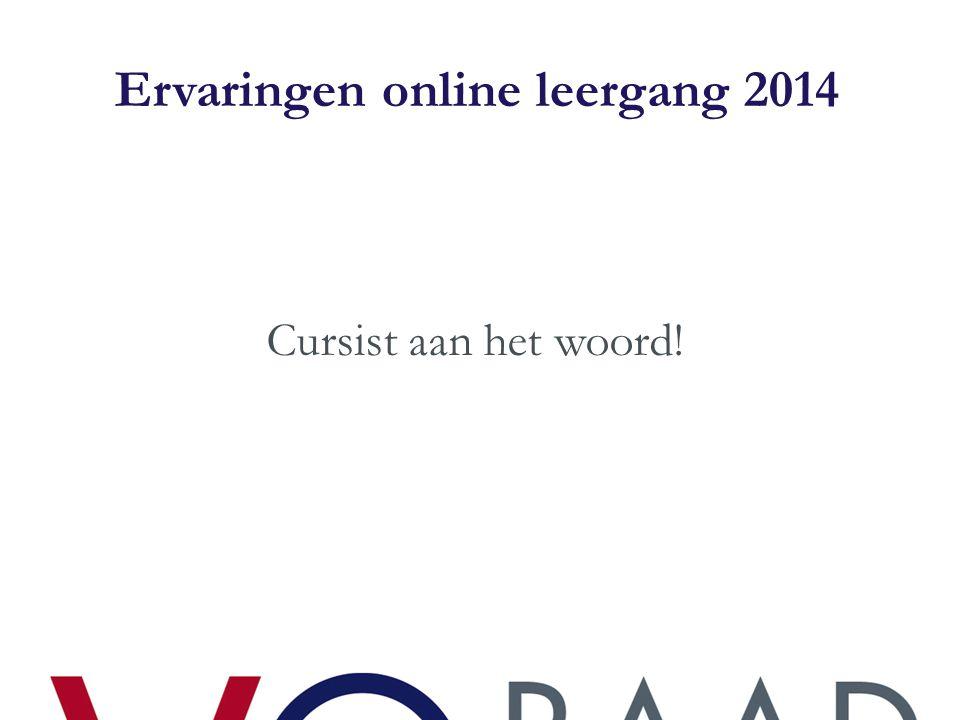 Ervaringen online leergang 2014