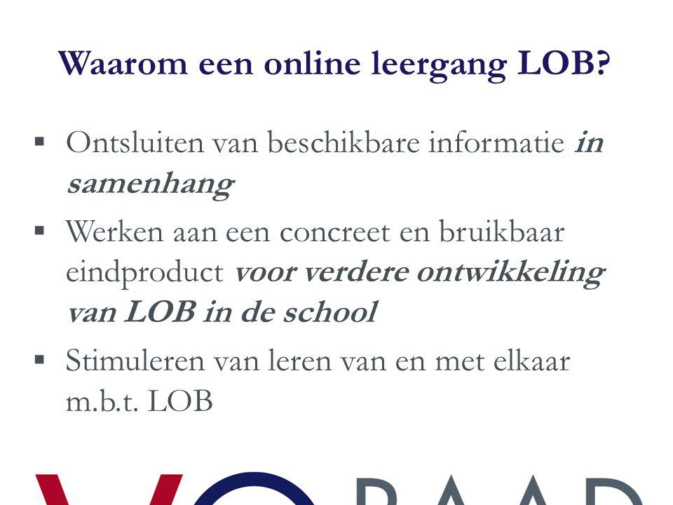 Waarom een online leergang LOB