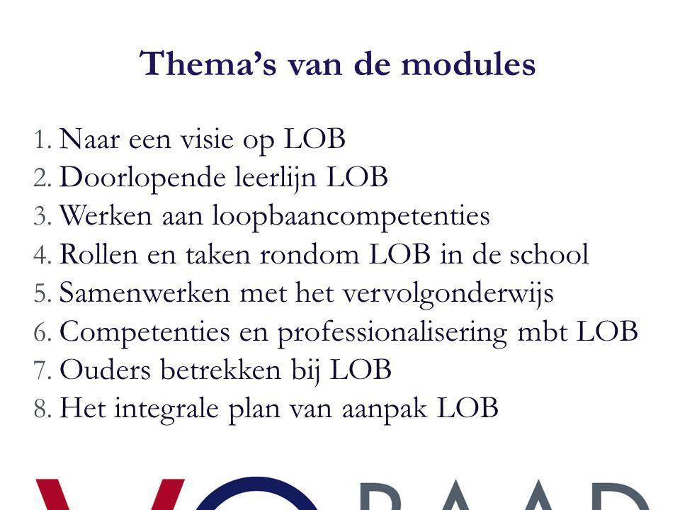 Thema's van de modules Naar een visie op LOB Doorlopende leerlijn LOB