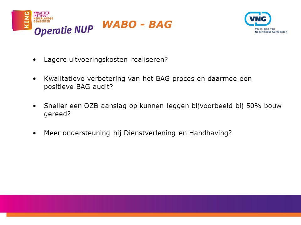 WABO - BAG Lagere uitvoeringskosten realiseren