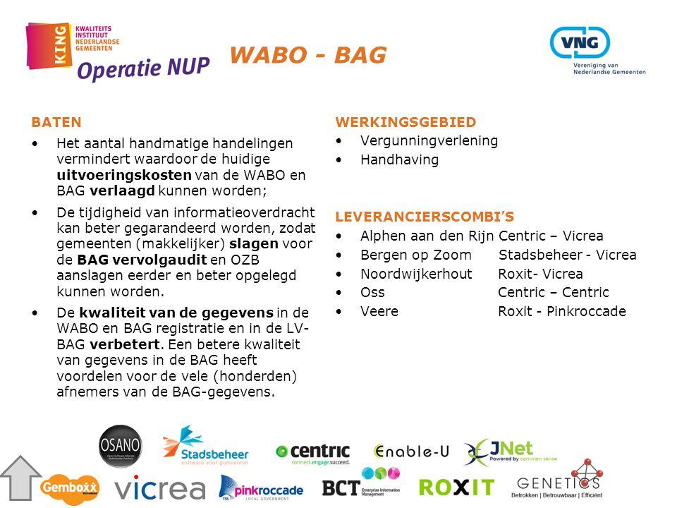 WABO - BAG BATEN. Het aantal handmatige handelingen vermindert waardoor de huidige uitvoeringskosten van de WABO en BAG verlaagd kunnen worden;