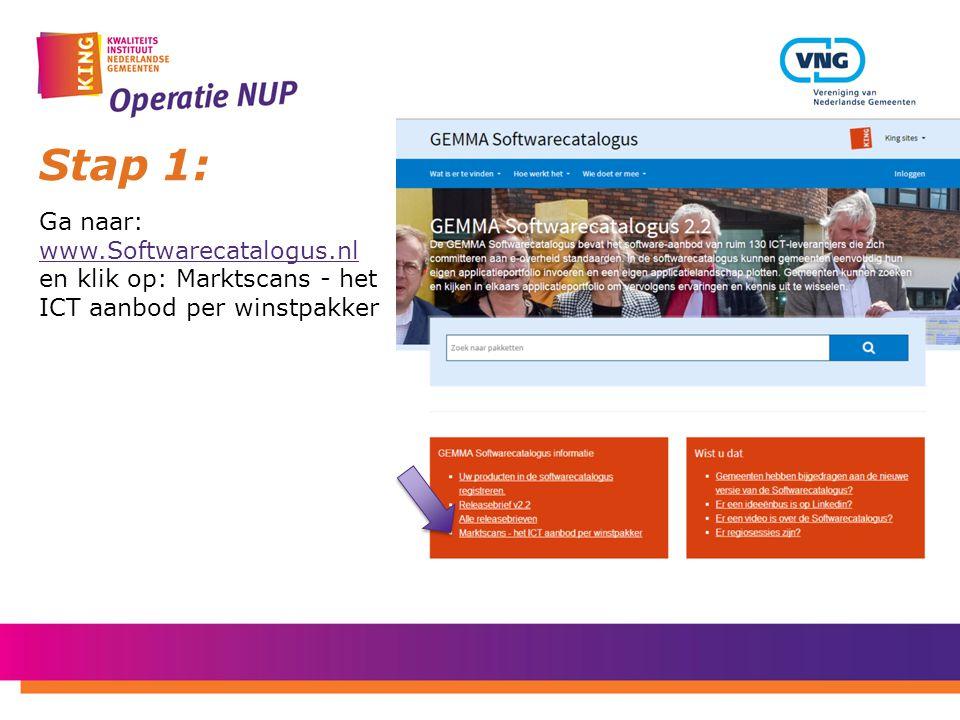 Stap 1: Ga naar: www.Softwarecatalogus.nl en klik op: Marktscans - het ICT aanbod per winstpakker