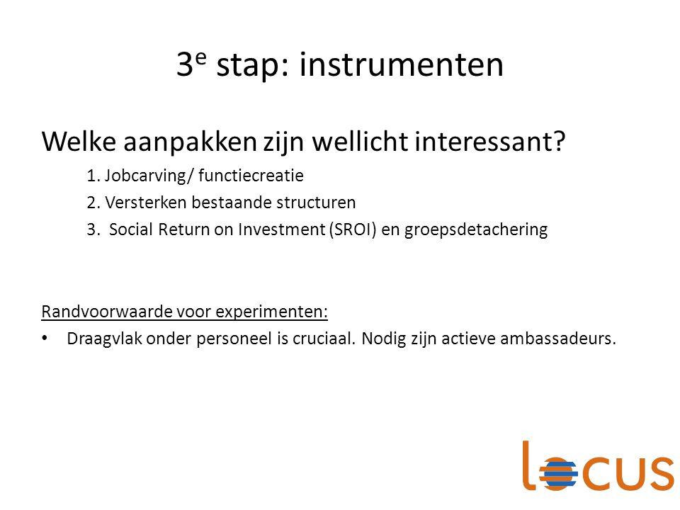 3e stap: instrumenten Welke aanpakken zijn wellicht interessant