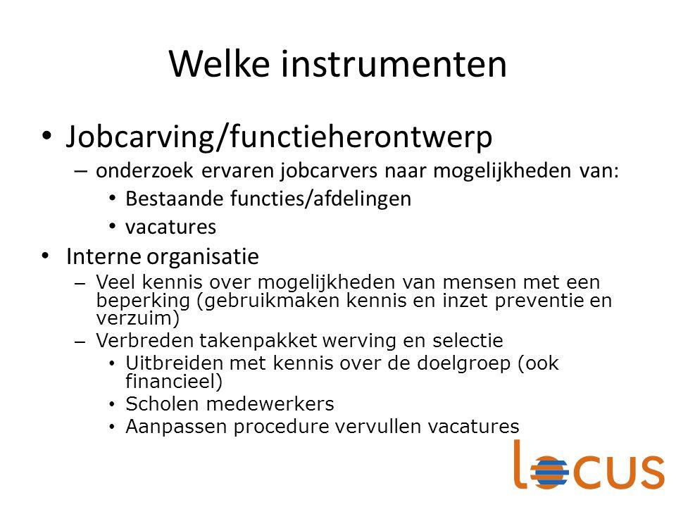 Welke instrumenten Jobcarving/functieherontwerp Interne organisatie