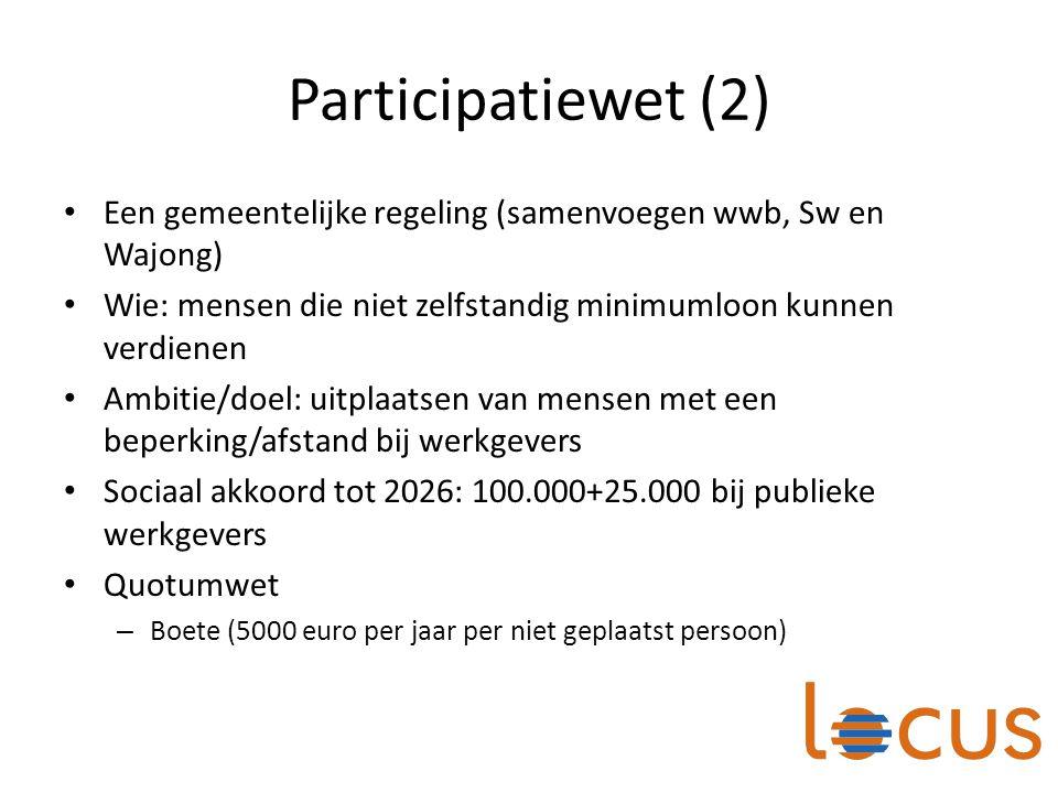 Participatiewet (2) Een gemeentelijke regeling (samenvoegen wwb, Sw en Wajong) Wie: mensen die niet zelfstandig minimumloon kunnen verdienen.