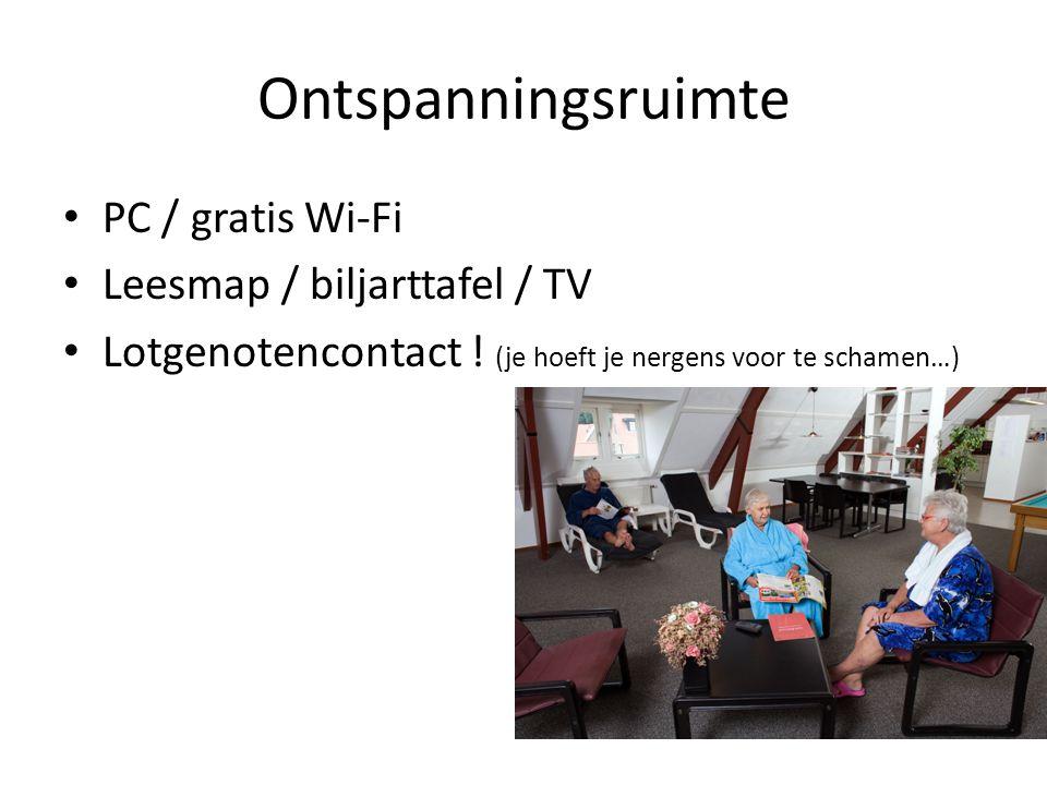 Ontspanningsruimte PC / gratis Wi-Fi Leesmap / biljarttafel / TV
