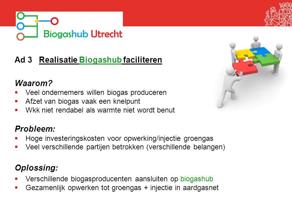 Ad 3 Realisatie Biogashub faciliteren Waarom