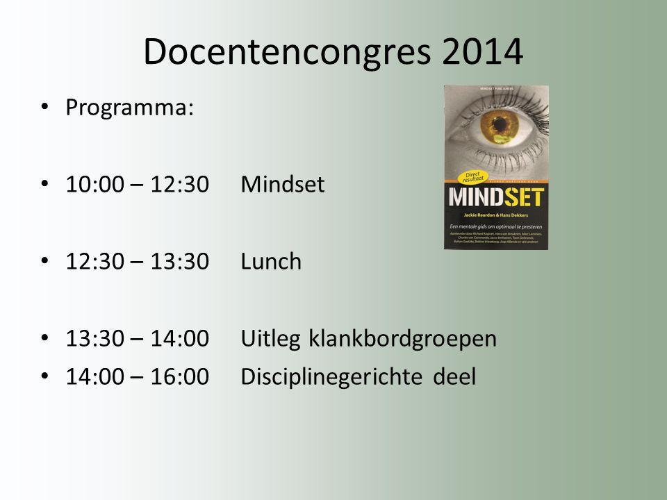 Docentencongres 2014 Programma: 10:00 – 12:30 Mindset