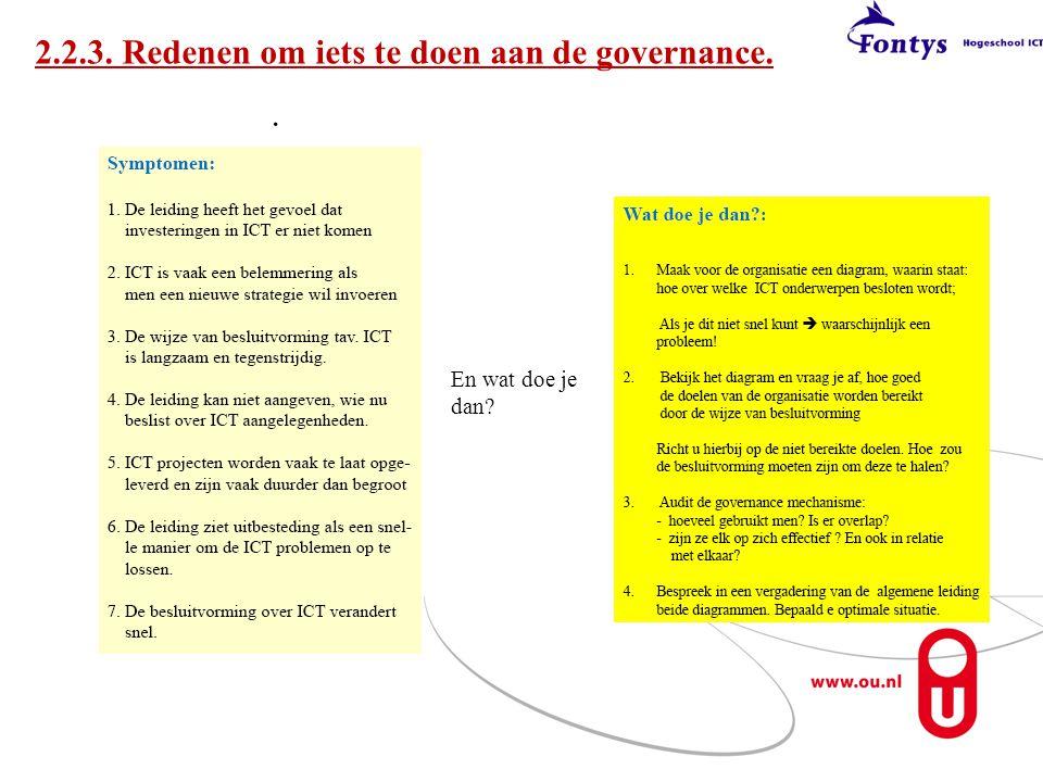 2.2.3. Redenen om iets te doen aan de governance.