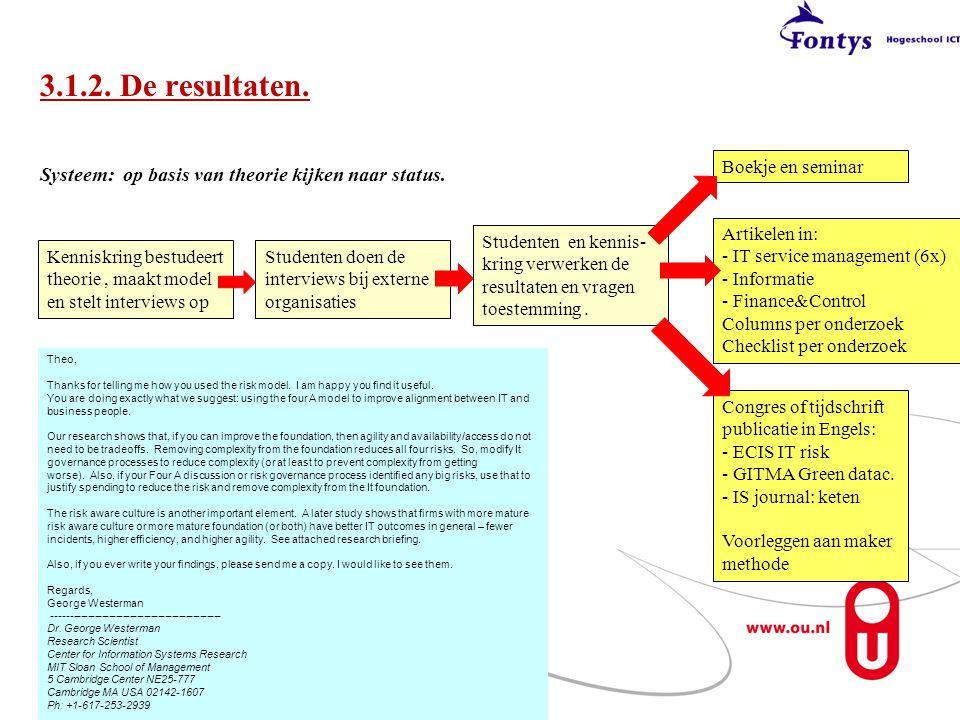 3.1.2. De resultaten. Boekje en seminar. Systeem: op basis van theorie kijken naar status.