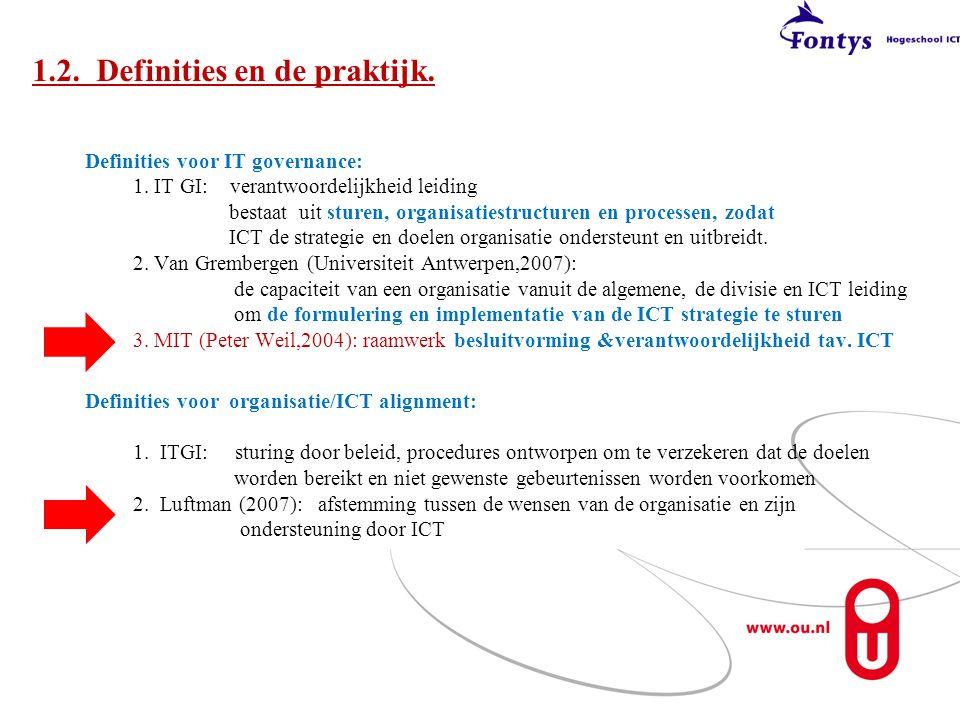 1.2. Definities en de praktijk.