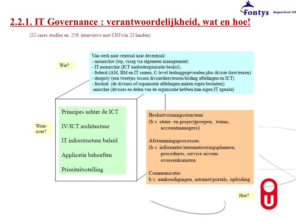 2. 2. 1. IT Governance : verantwoordelijkheid, wat en hoe