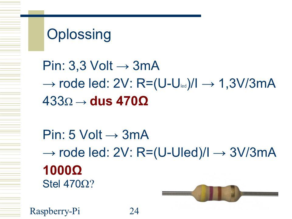 Oplossing Pin: 3,3 Volt → 3mA → rode led: 2V: R=(U-Uled)/I → 1,3V/3mA