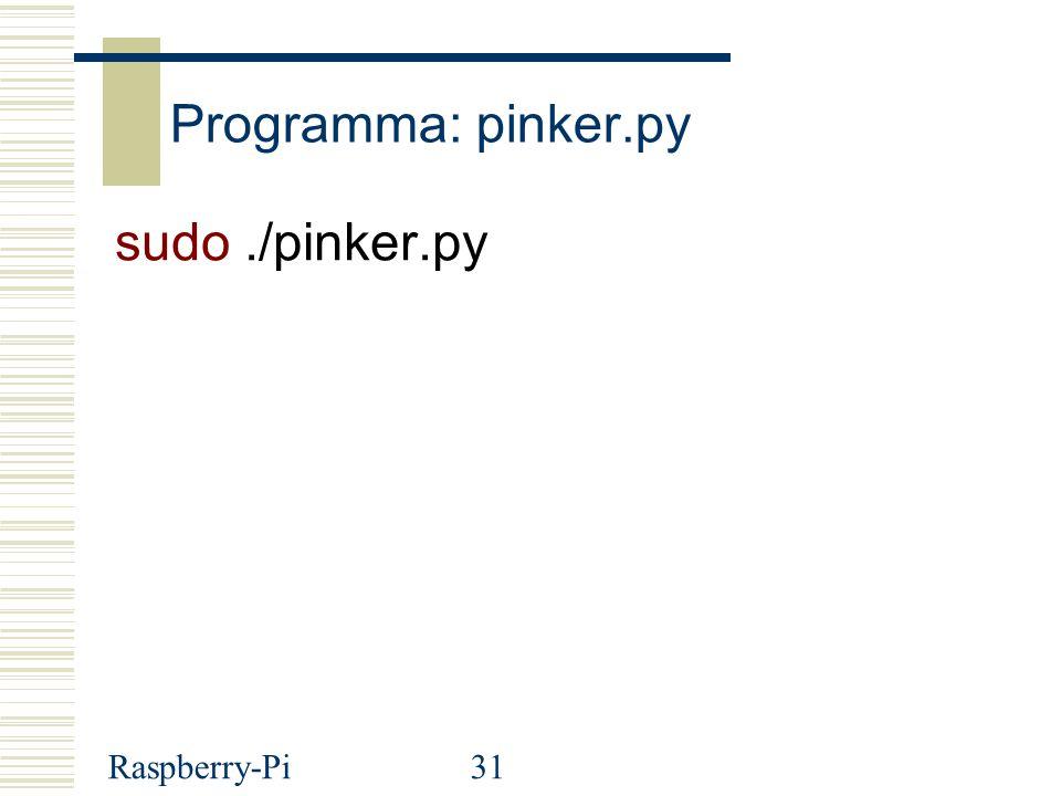 Programma: pinker.py sudo ./pinker.py Raspberry-Pi