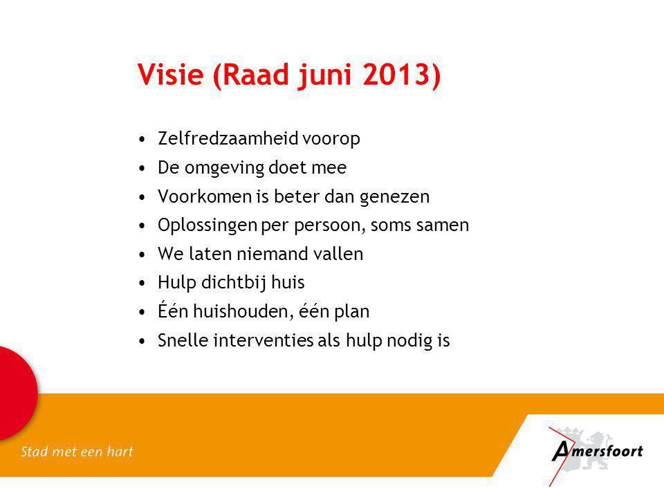 Visie (Raad juni 2013) Zelfredzaamheid voorop De omgeving doet mee