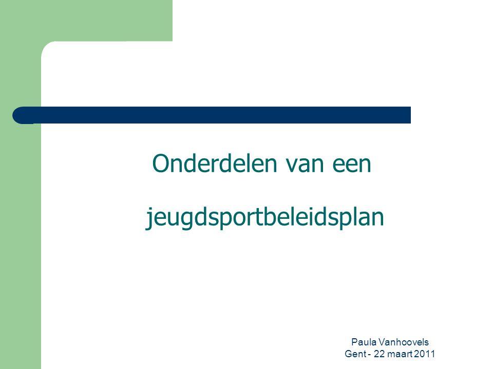 Onderdelen van een jeugdsportbeleidsplan