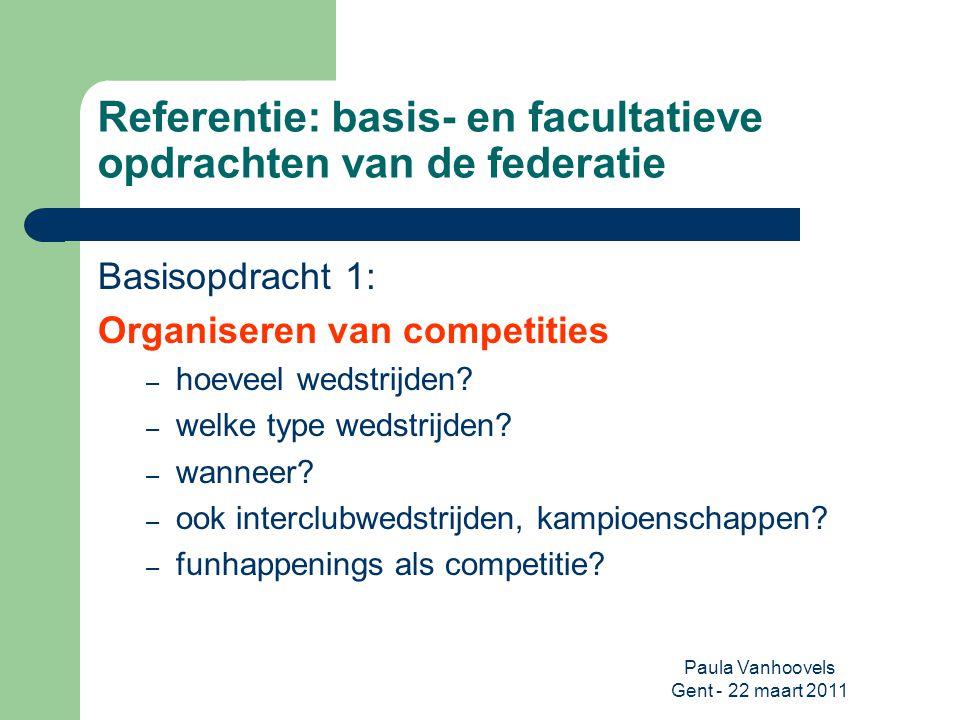 Referentie: basis- en facultatieve opdrachten van de federatie