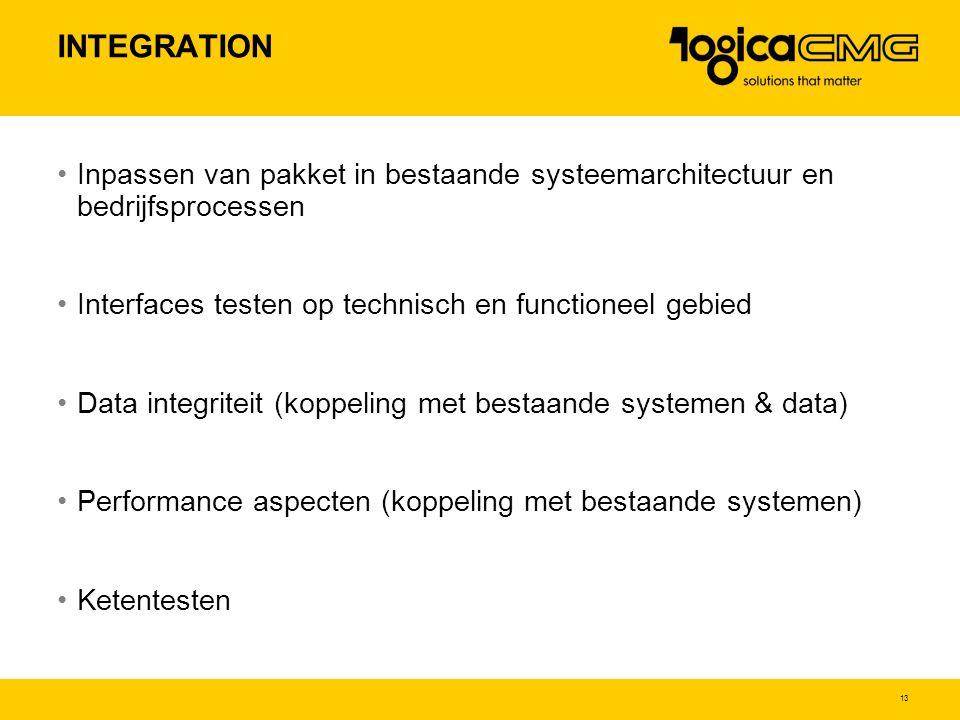 INTEGRATION Inpassen van pakket in bestaande systeemarchitectuur en bedrijfsprocessen. Interfaces testen op technisch en functioneel gebied.
