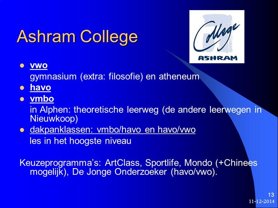 Ashram College vwo gymnasium (extra: filosofie) en atheneum havo vmbo