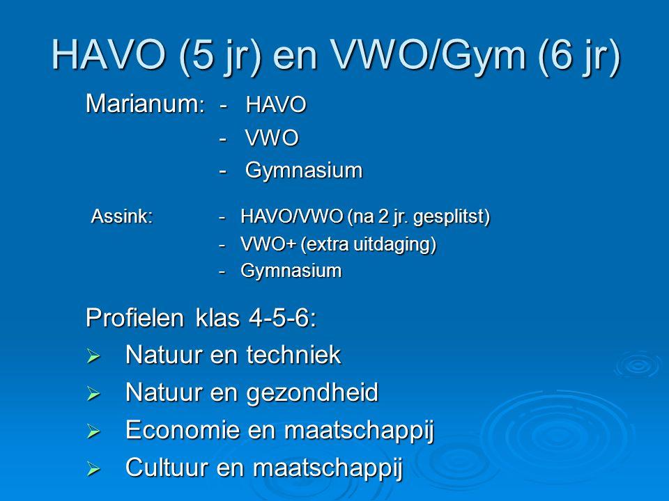 HAVO (5 jr) en VWO/Gym (6 jr)