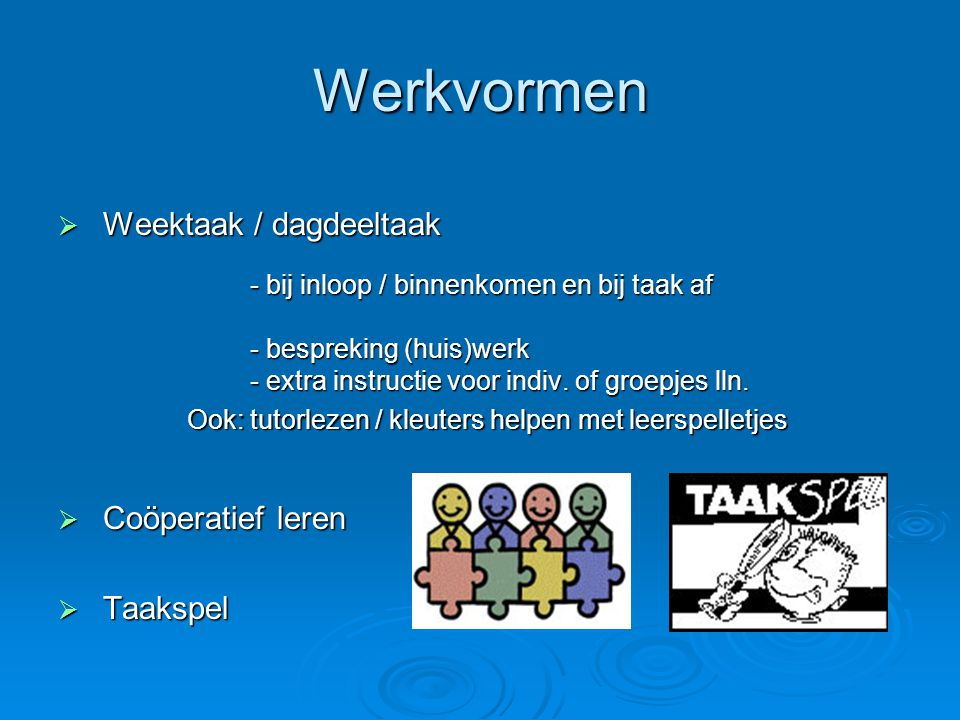 Werkvormen Weektaak / dagdeeltaak Coöperatief leren Taakspel