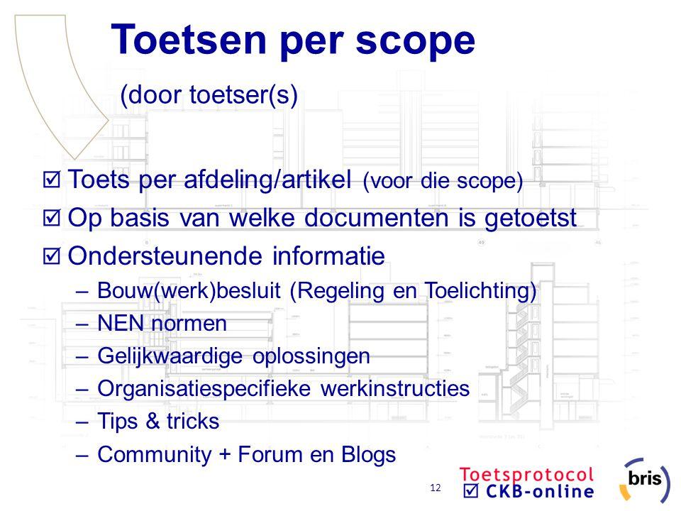 Toetsen per scope (door toetser(s)