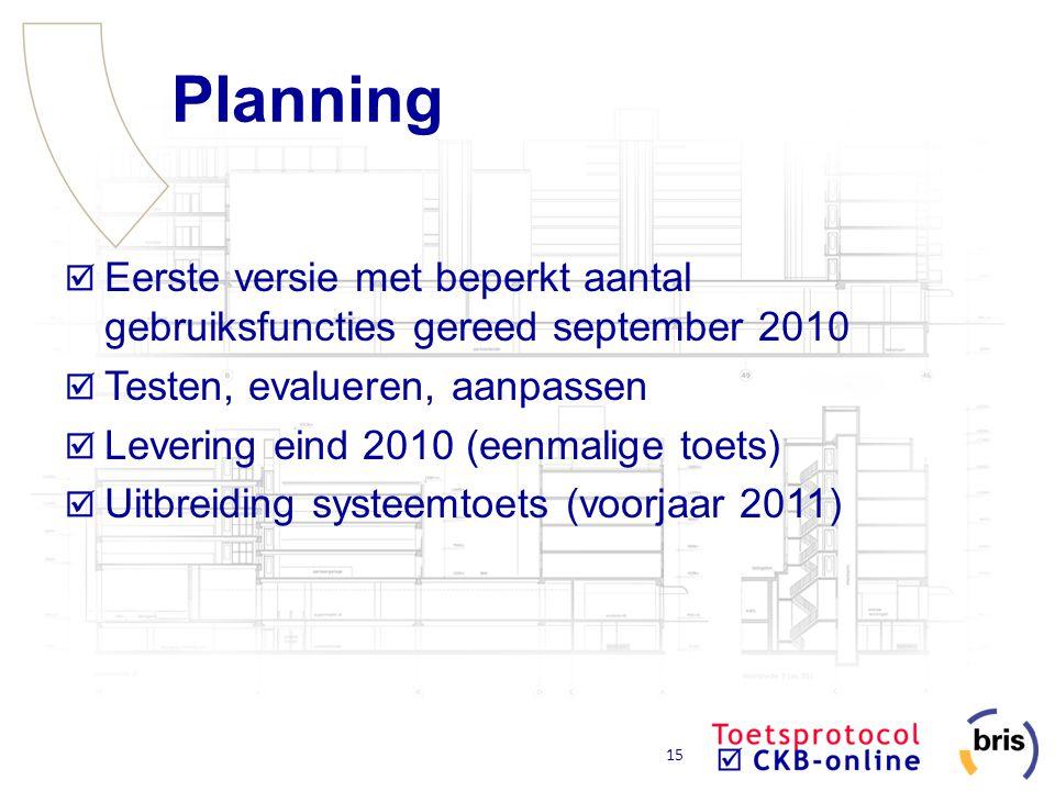 Planning Eerste versie met beperkt aantal gebruiksfuncties gereed september 2010. Testen, evalueren, aanpassen.