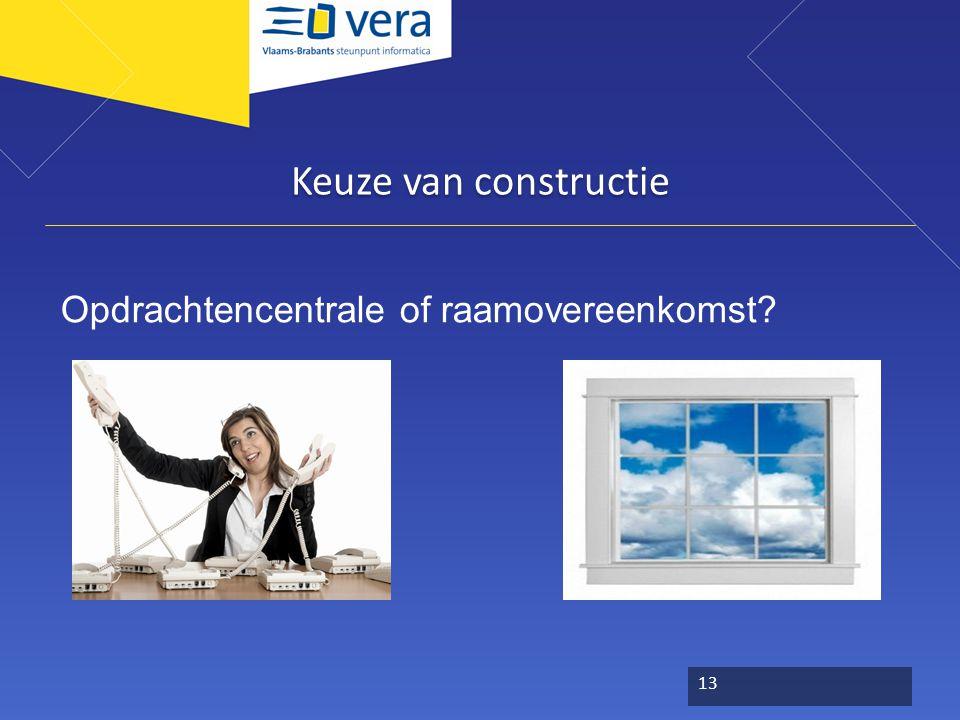 Keuze van constructie Opdrachtencentrale of raamovereenkomst
