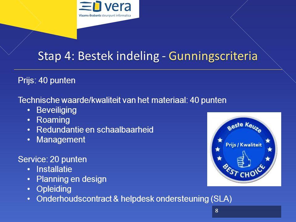 Stap 4: Bestek indeling - Gunningscriteria