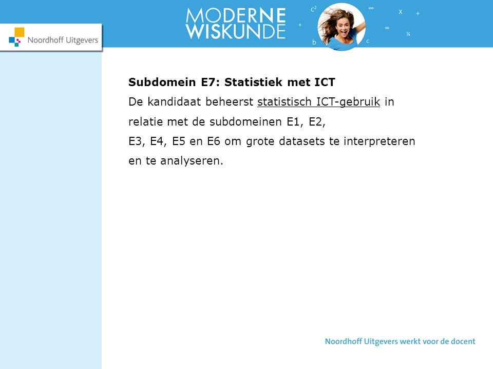 Subdomein E7: Statistiek met ICT