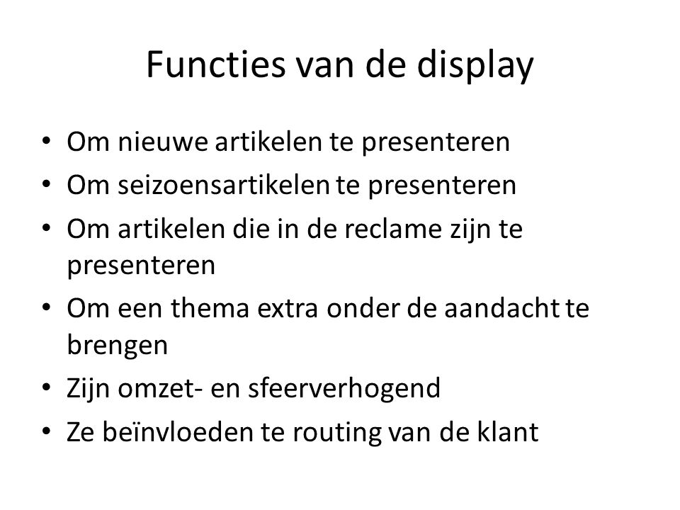 Functies van de display