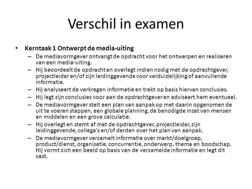 Verschil in examen Kerntaak 1 Ontwerpt de media-uiting