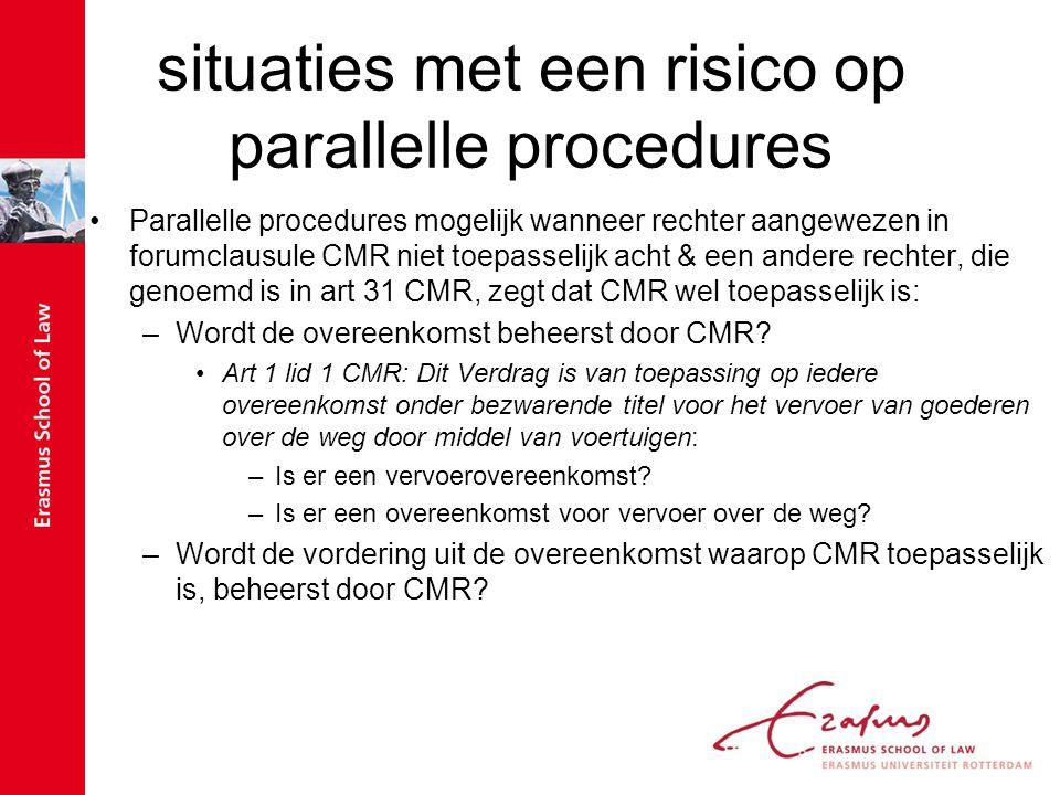 situaties met een risico op parallelle procedures