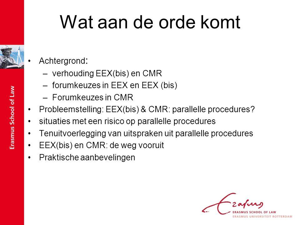 Wat aan de orde komt Achtergrond: verhouding EEX(bis) en CMR