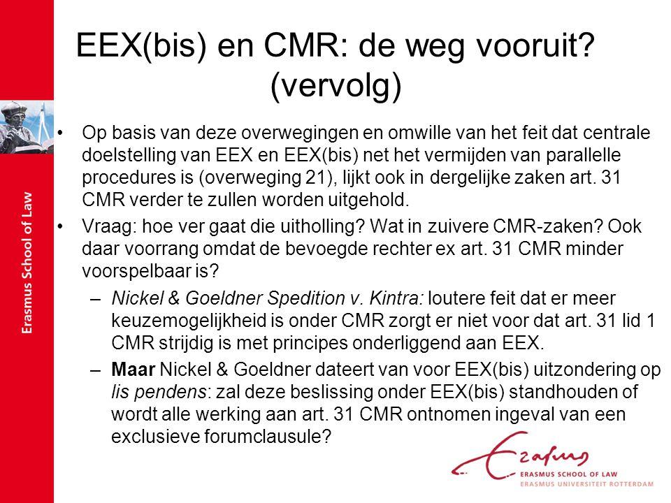 EEX(bis) en CMR: de weg vooruit (vervolg)