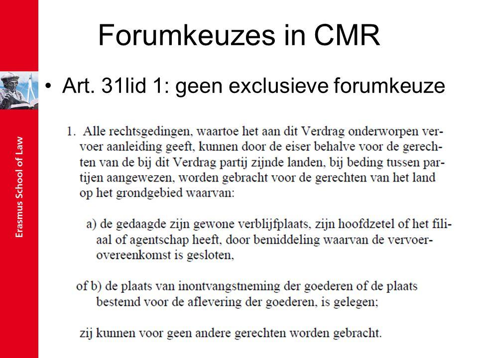 Forumkeuzes in CMR Art. 31lid 1: geen exclusieve forumkeuze
