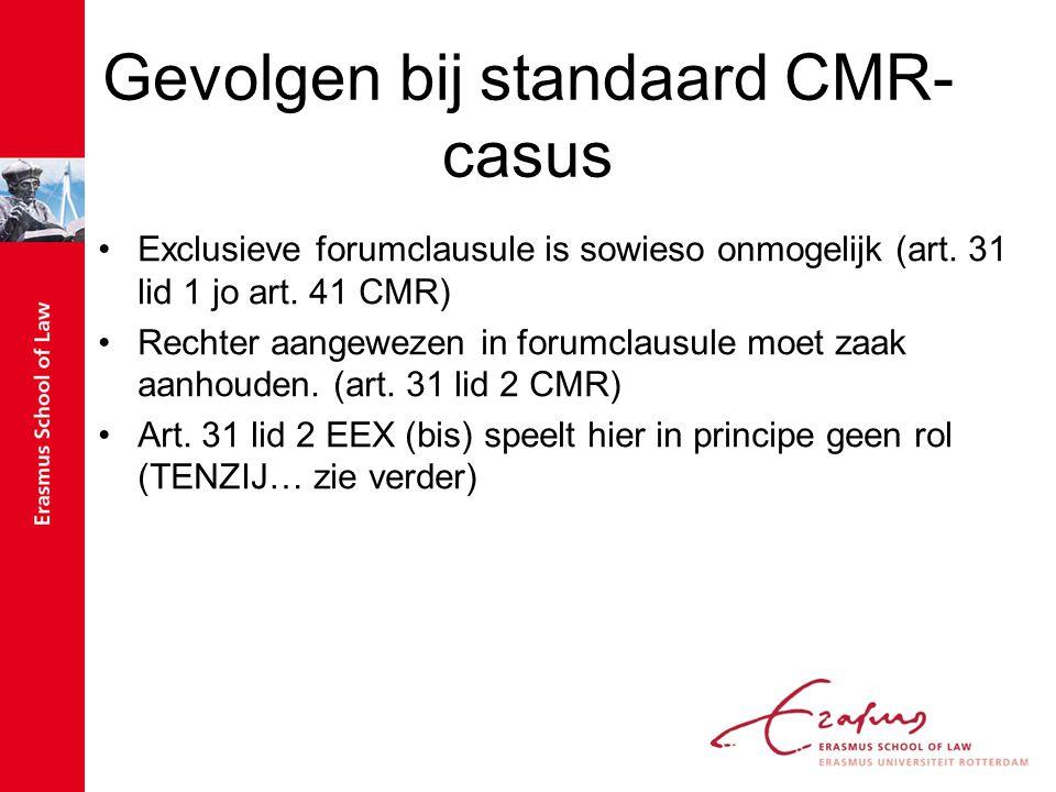 Gevolgen bij standaard CMR-casus