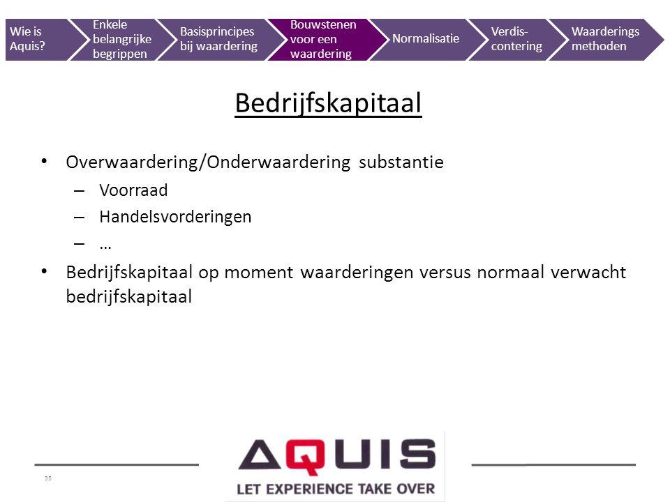 Bedrijfskapitaal Overwaardering/Onderwaardering substantie