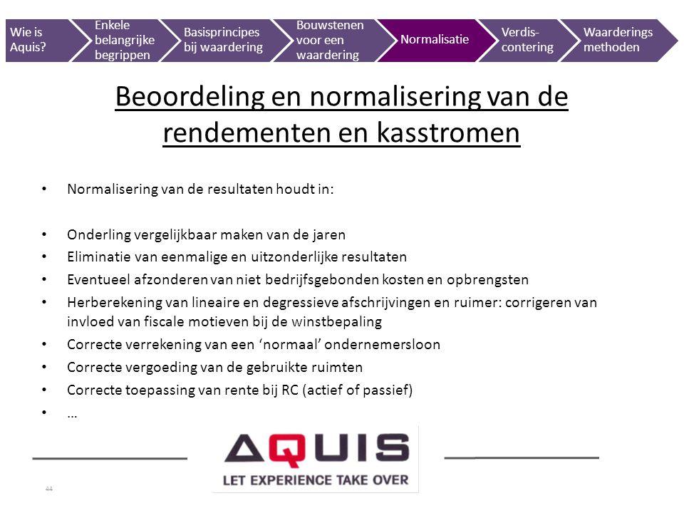 Beoordeling en normalisering van de rendementen en kasstromen