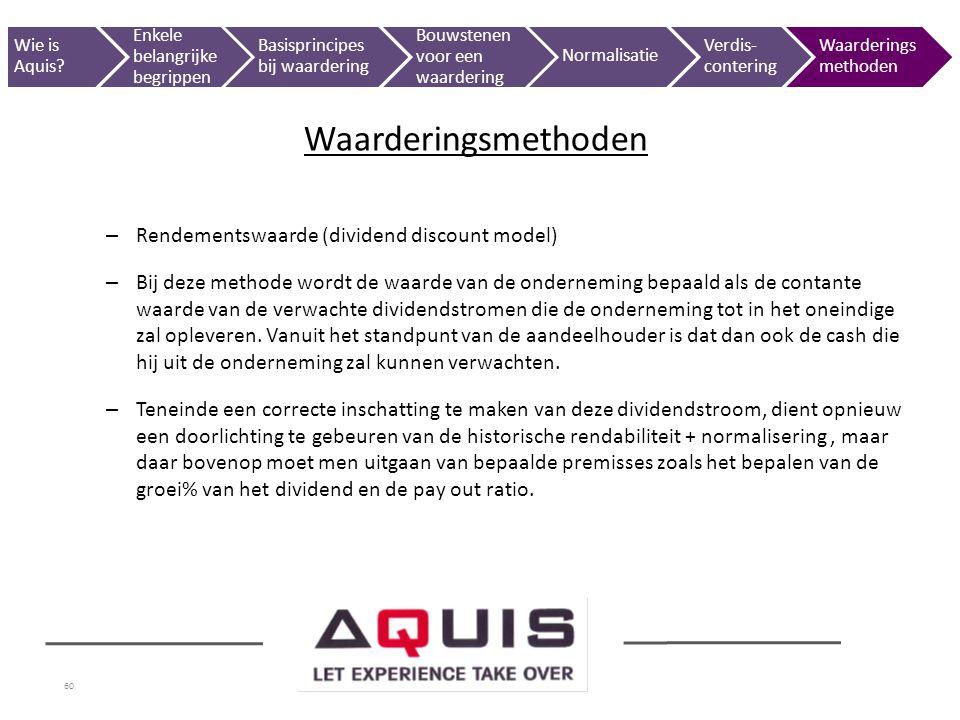 Waarderingsmethoden Rendementswaarde (dividend discount model)
