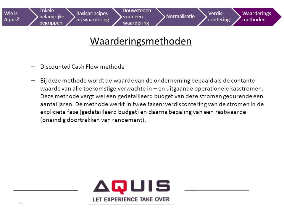 Waarderingsmethoden Discounted Cash Flow methode